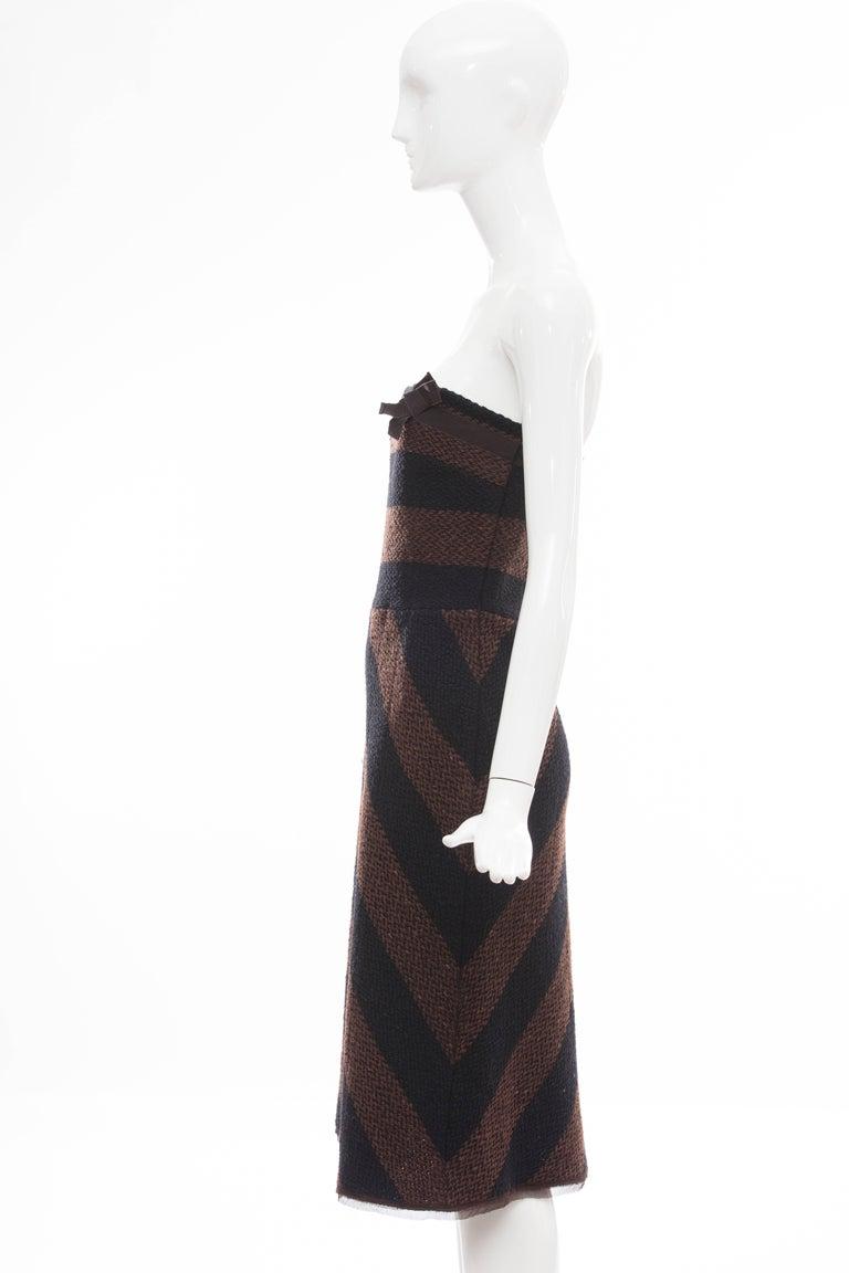 Prada Brown Navy Blue Striped Virgin Wool Tweed Strapless Dress, Fall 2000 For Sale 2