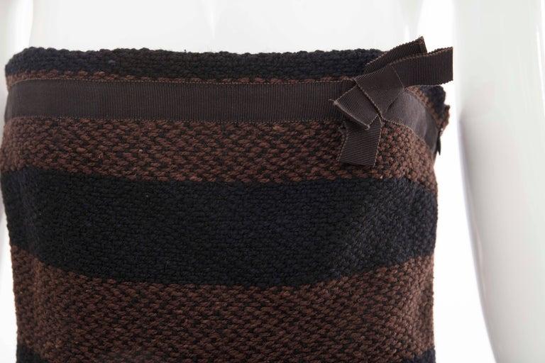 Prada Brown Navy Blue Striped Virgin Wool Tweed Strapless Dress, Fall 2000 For Sale 3