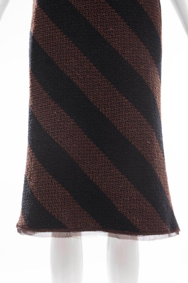 Prada Brown Navy Blue Striped Virgin Wool Tweed Strapless Dress, Fall 2000 For Sale 4