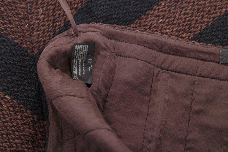 Prada Brown Navy Blue Striped Virgin Wool Tweed Strapless Dress, Fall 2000 For Sale 5
