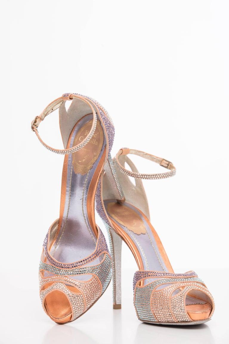 Brown Rene Caovilla Silk Satin Swarovski Crystal Peep - Toe Sandals For Sale