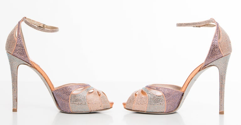 Rene Caovilla Silk Satin Swarovski Crystal Peep - Toe Sandals In Excellent Condition For Sale In Cincinnati, OH