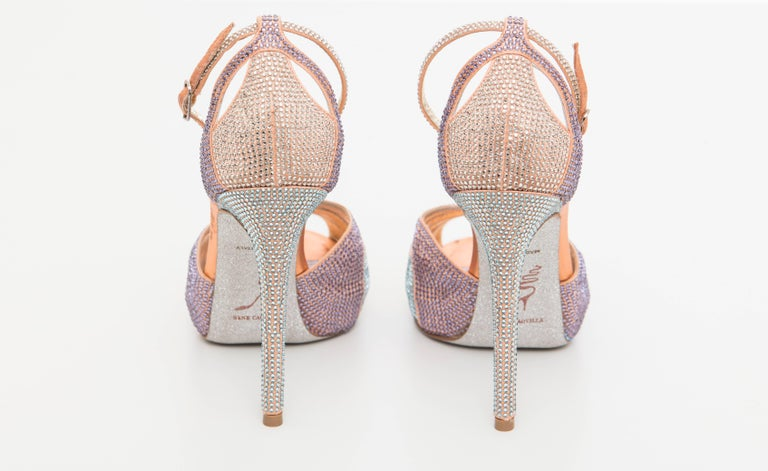Women's Rene Caovilla Silk Satin Swarovski Crystal Peep - Toe Sandals For Sale