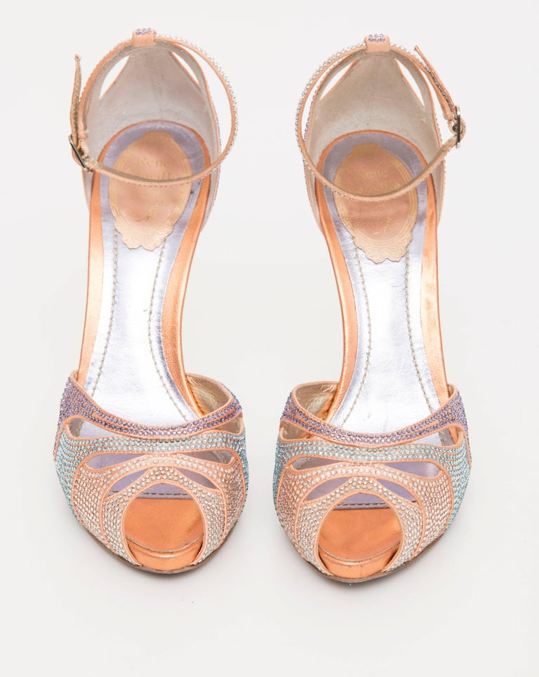 Rene Caovilla Silk Satin Swarovski Crystal Peep - Toe Sandals For Sale 1