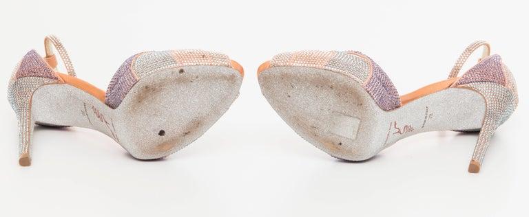 Rene Caovilla Silk Satin Swarovski Crystal Peep - Toe Sandals For Sale 2