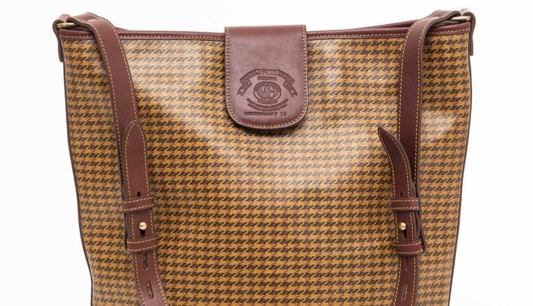 Brown Ghurka Marley Hodgson Houndstooth Check Shoulder Bag Adjule Strap For