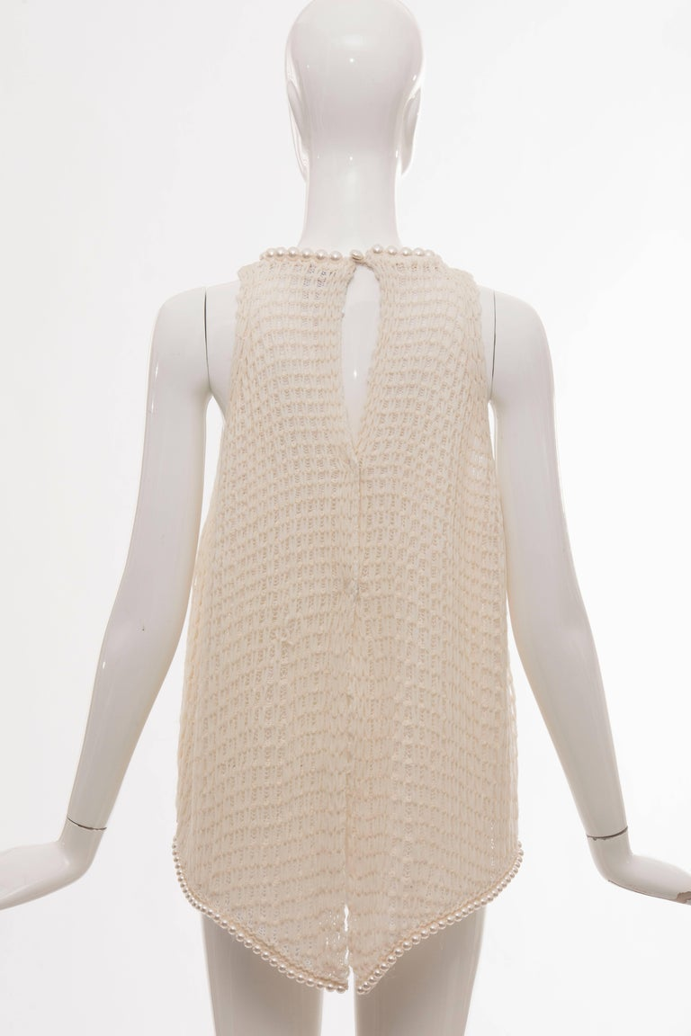 Beige Chanel Cream Silk Blend Open Knit Top With Pearl Embellishments, Spring 2009 For Sale