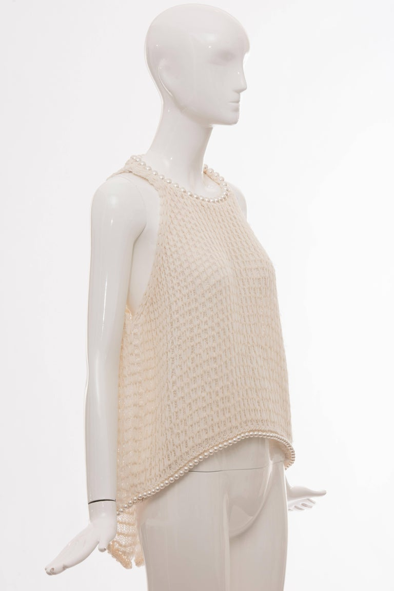 Chanel Cream Silk Blend Open Knit Top With Pearl Embellishments, Spring 2009 In Excellent Condition For Sale In Cincinnati, OH
