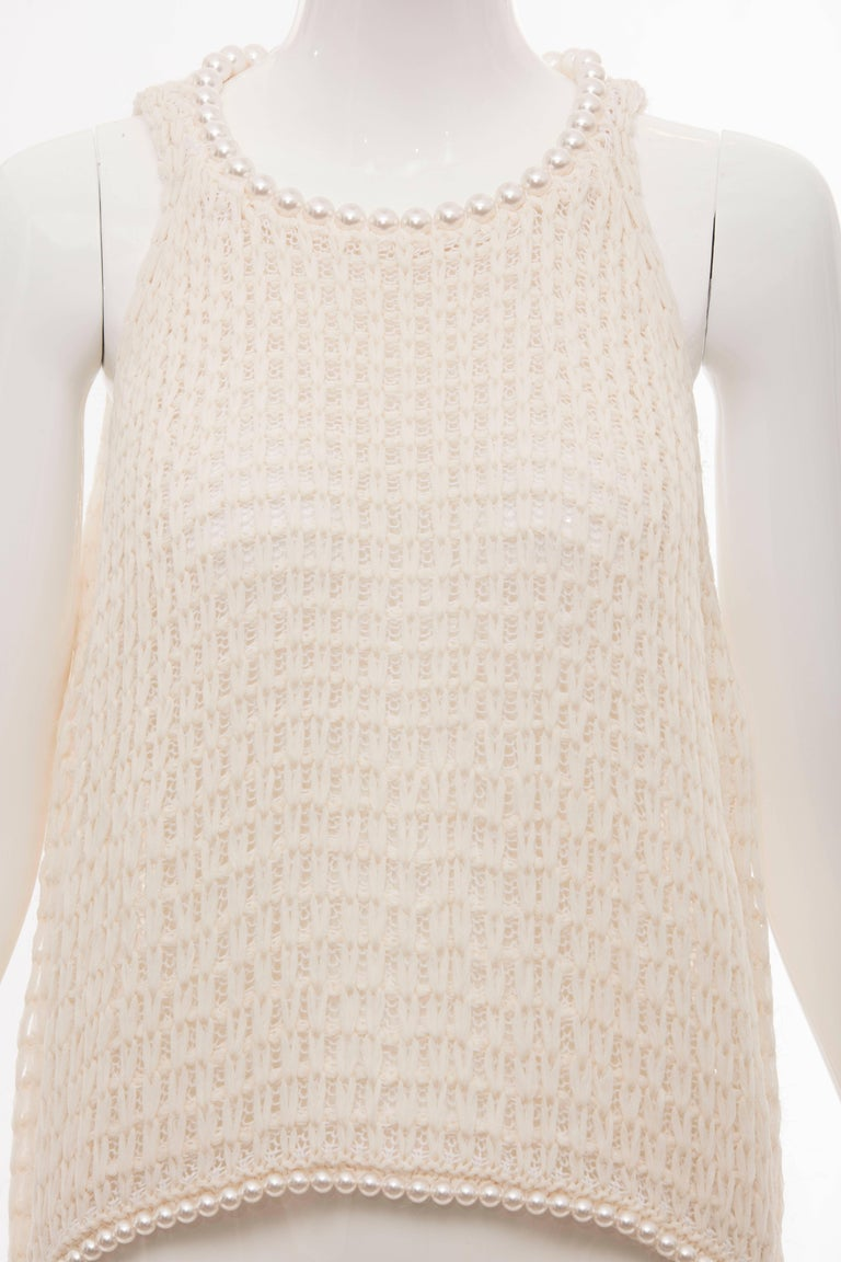 Women's Chanel Cream Silk Blend Open Knit Top With Pearl Embellishments, Spring 2009 For Sale