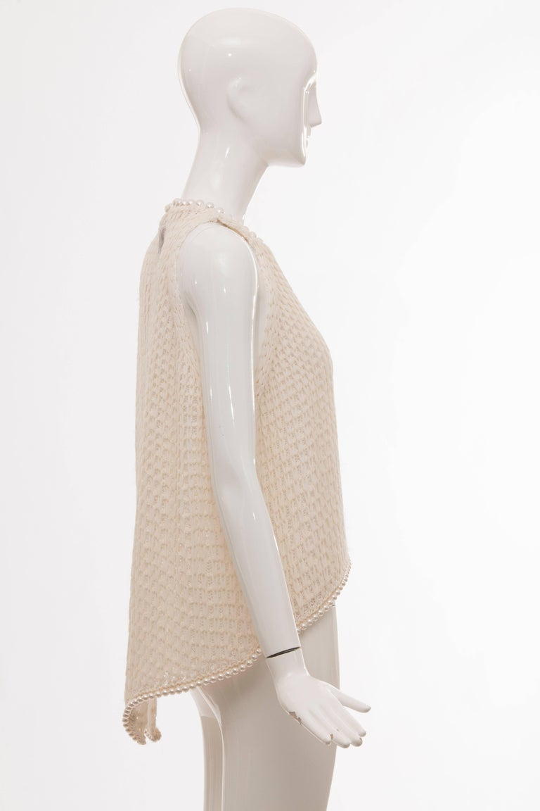 Chanel Cream Silk Blend Open Knit Top With Pearl Embellishments, Spring 2009 For Sale 1