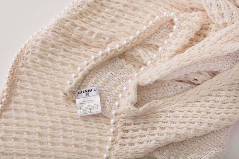 Chanel Cream Silk Blend Open Knit Top With Pearl Embellishments, Spring 2009 For Sale 5
