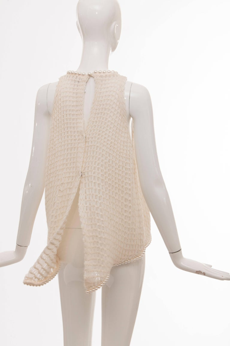 Chanel Cream Silk Blend Open Knit Top With Pearl Embellishments, Spring 2009 For Sale 2
