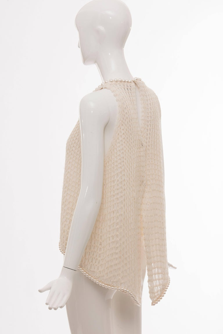Chanel Cream Silk Blend Open Knit Top With Pearl Embellishments, Spring 2009 For Sale 3