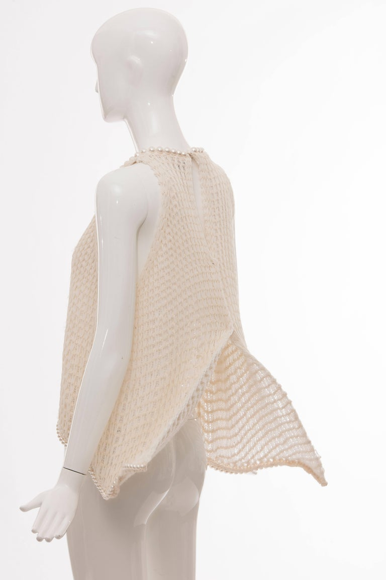 Chanel Cream Silk Blend Open Knit Top With Pearl Embellishments, Spring 2009 For Sale 4