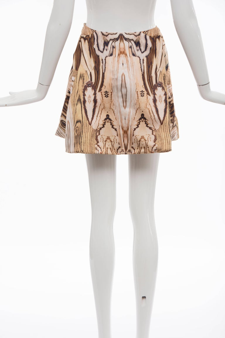Brown Alexander McQueen Silk Wood Grain Digital Print Mini Skirt, Spring 2009 For Sale