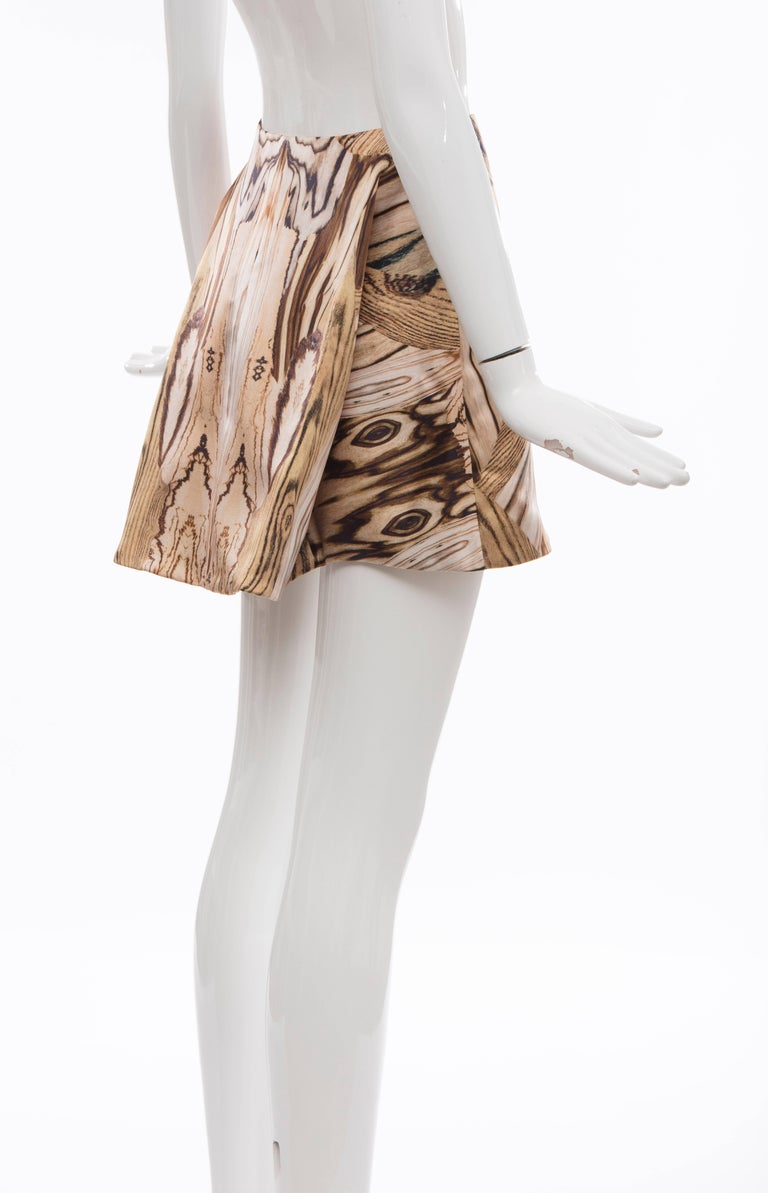 Alexander McQueen Silk Wood Grain Digital Print Mini Skirt, Spring 2009 For Sale 1