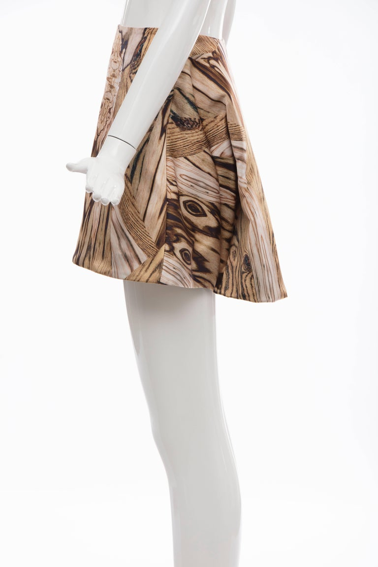 Alexander McQueen Silk Wood Grain Digital Print Mini Skirt, Spring 2009 For Sale 2