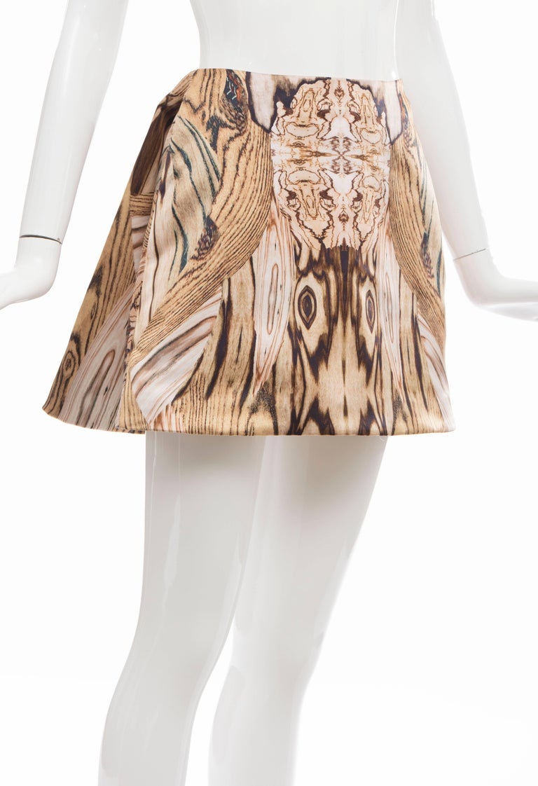Alexander McQueen Silk Wood Grain Digital Print Mini Skirt, Spring 2009 For Sale 3