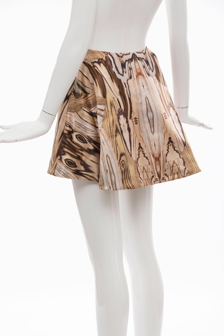 Alexander McQueen Silk Wood Grain Digital Print Mini Skirt, Spring 2009 For Sale 4
