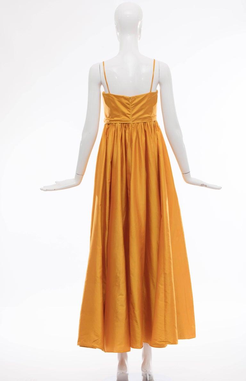 Orange Donna Karan Silk Marigold Evening Dress, Circa 1980s For Sale