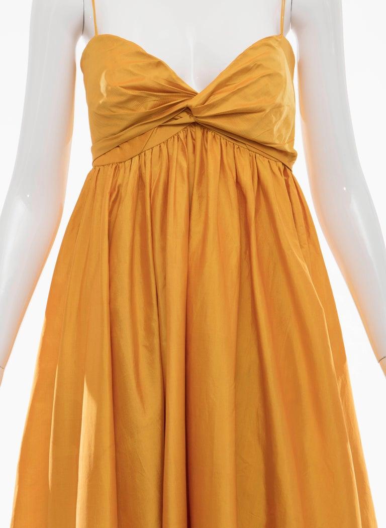 Women's Donna Karan Silk Marigold Evening Dress, Circa 1980s For Sale