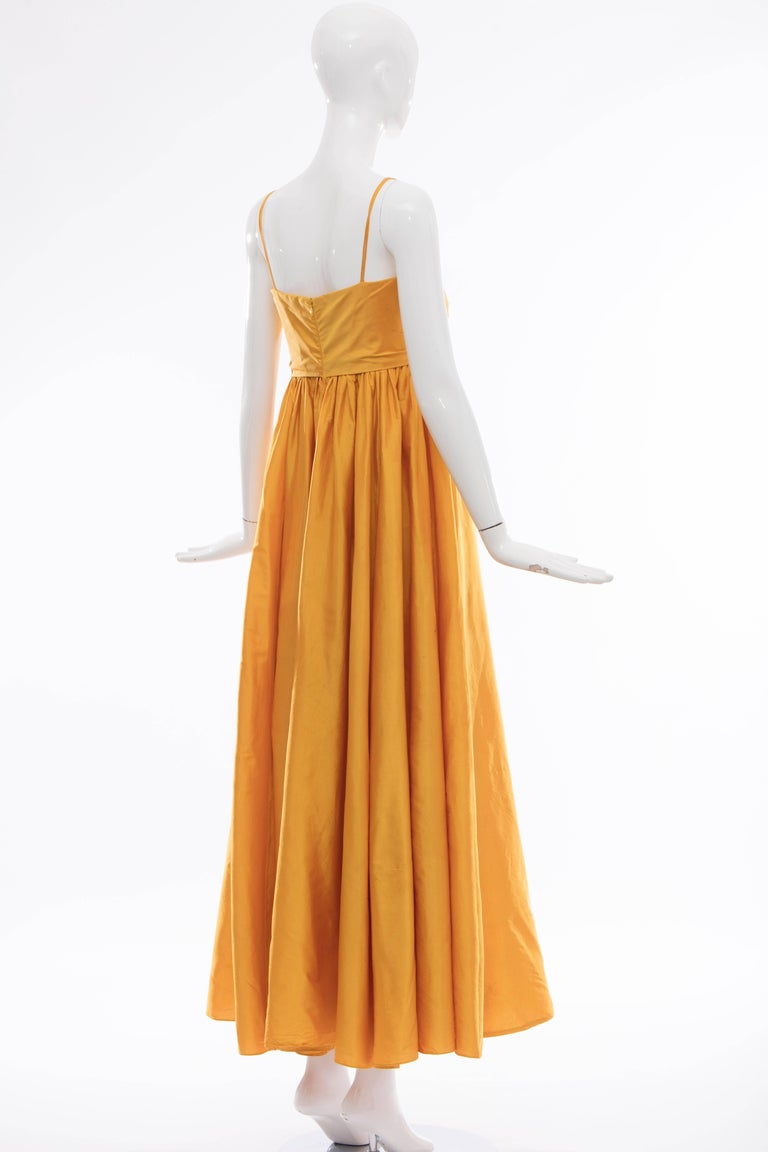 Donna Karan Silk Marigold Evening Dress, Circa 1980s For Sale 1