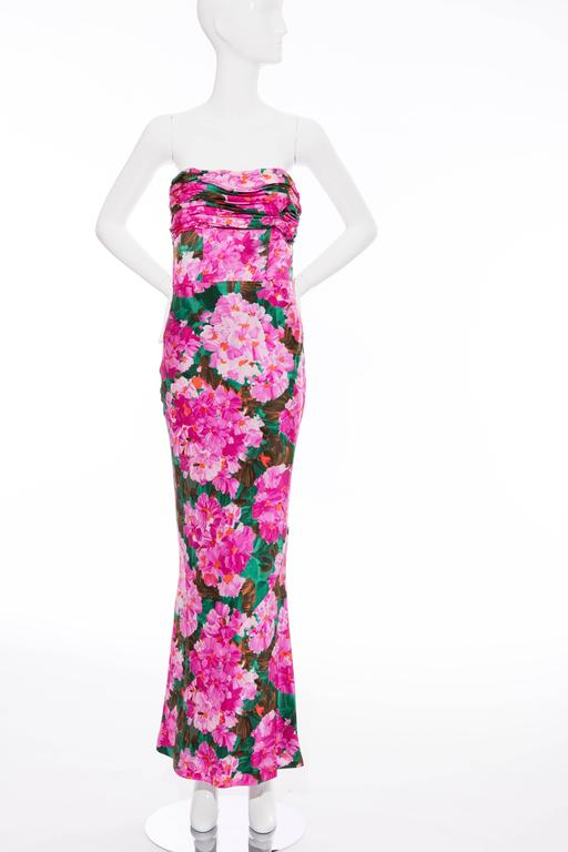 Pink  Balenciaga Nicolas Ghesquiere Silk Floral Strapless Evening Dress, Spring 2008 For Sale
