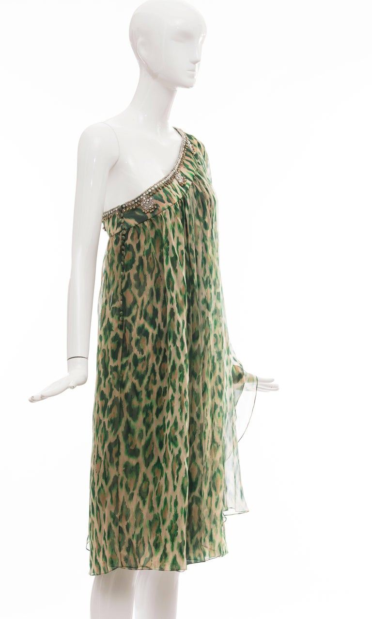 John Galliano for Christian Dior Runway Leopard Silk Evening Dress, Resort 2008 In Excellent Condition For Sale In Cincinnati, OH