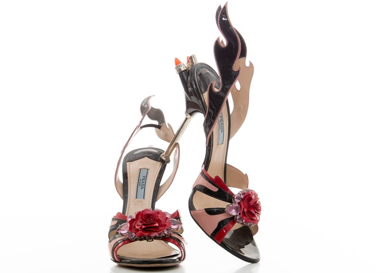 Brown Prada Jewel Toe Tail Light Flame Sandals, Spring 2012 For Sale