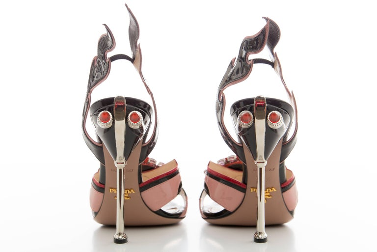 Prada Jewel Toe Tail Light Flame Sandals, Spring 2012 For Sale 1
