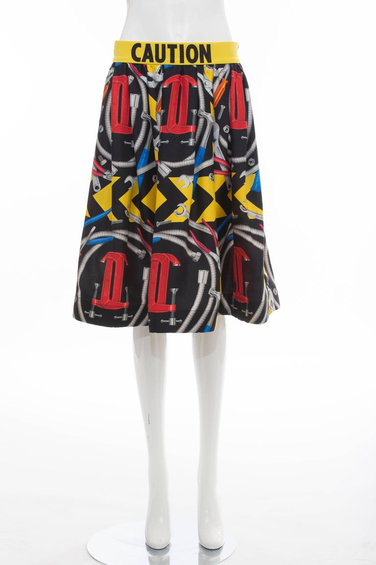 Jeremy Scott For Moschino Couture Runway Silk Print Skirt ...