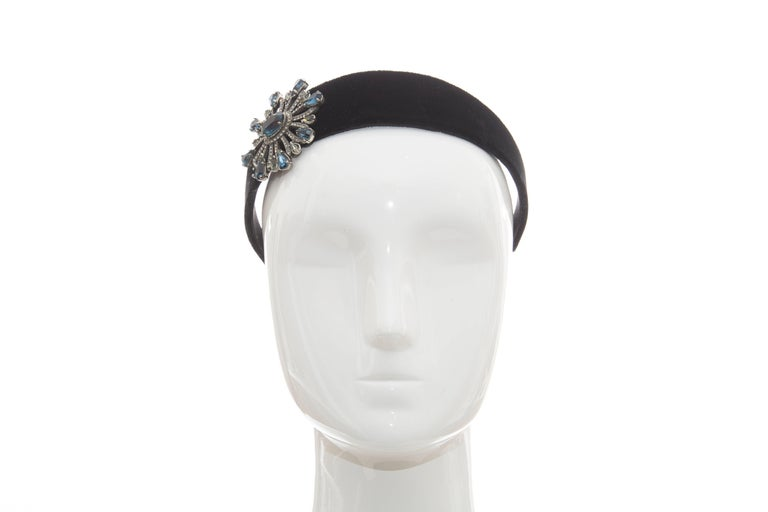 Women's  Alber Elbaz for Lanvin Runway Black Velvet Crystal Headband, Fall 2005 For Sale