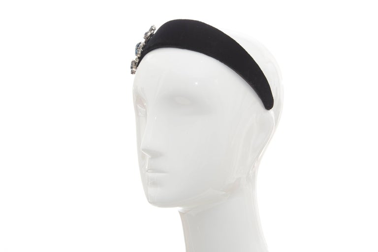 Alber Elbaz for Lanvin Runway Black Velvet Crystal Headband, Fall 2005 For Sale 1