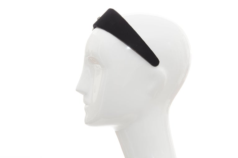 Alber Elbaz for Lanvin Runway Black Velvet Crystal Headband, Fall 2005 For Sale 2