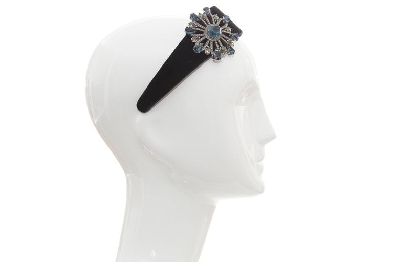 Alber Elbaz for Lanvin Runway Black Velvet Crystal Headband, Fall 2005 For Sale 3