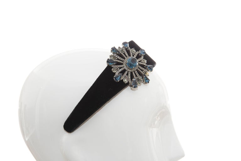 Alber Elbaz for Lanvin Runway Black Velvet Crystal Headband, Fall 2005 For Sale 4