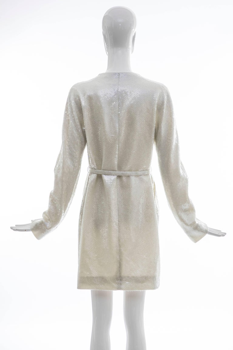 Gray Raf Simons For Jil Sander Runway Pearlescent Sequin Evening Coat, Spring 2007 For Sale