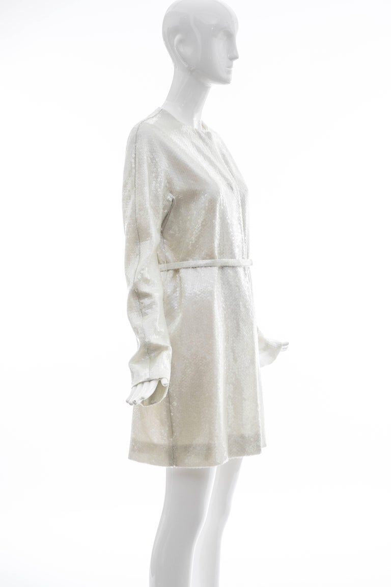 Raf Simons For Jil Sander Runway Pearlescent Sequin Evening Coat, Spring 2007 In Excellent Condition For Sale In Cincinnati, OH