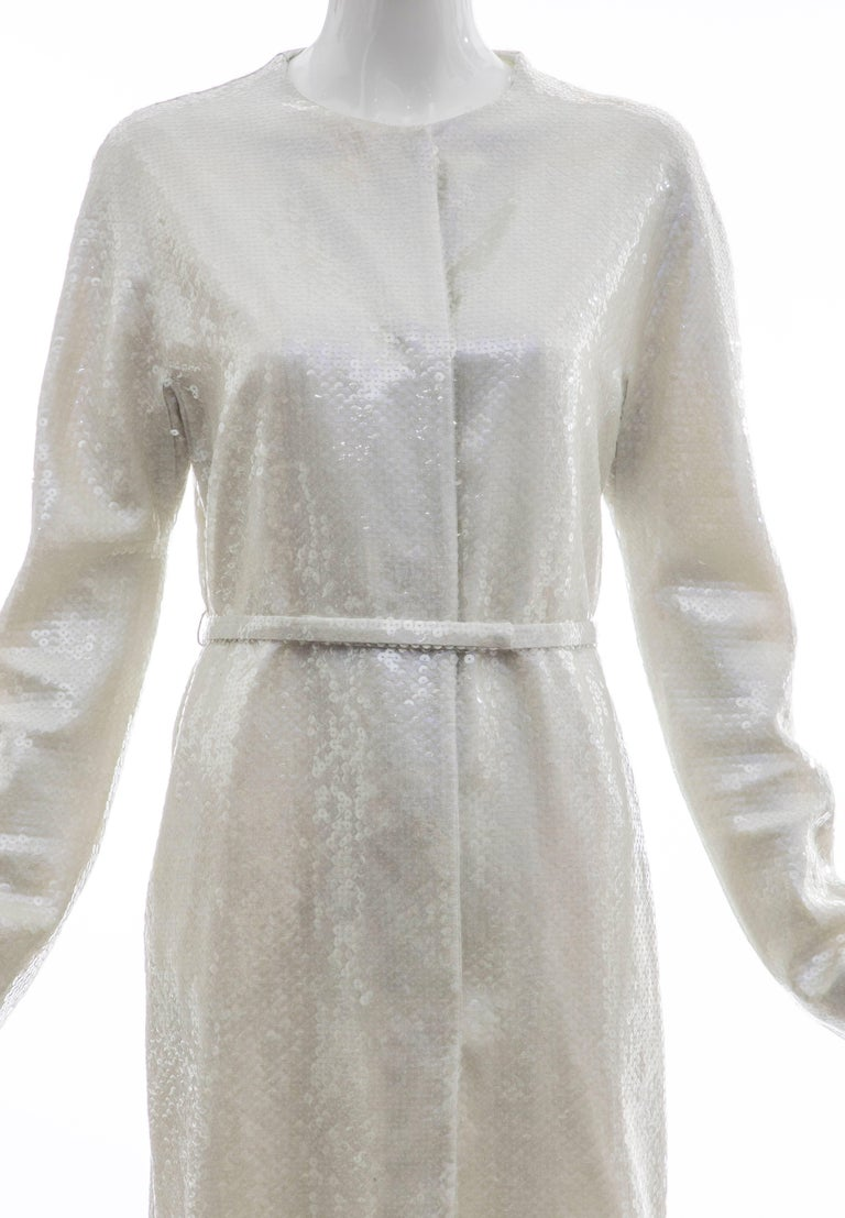 Women's Raf Simons For Jil Sander Runway Pearlescent Sequin Evening Coat, Spring 2007 For Sale