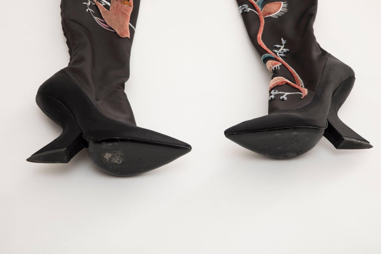 Women's Raf Simons for Christian Dior Runway Black Satin Embroidered Boots, Fall 2013 For Sale