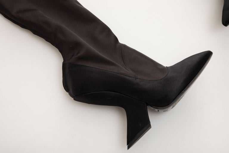Raf Simons for Christian Dior Runway Black Satin Embroidered Boots, Fall 2013 For Sale 1