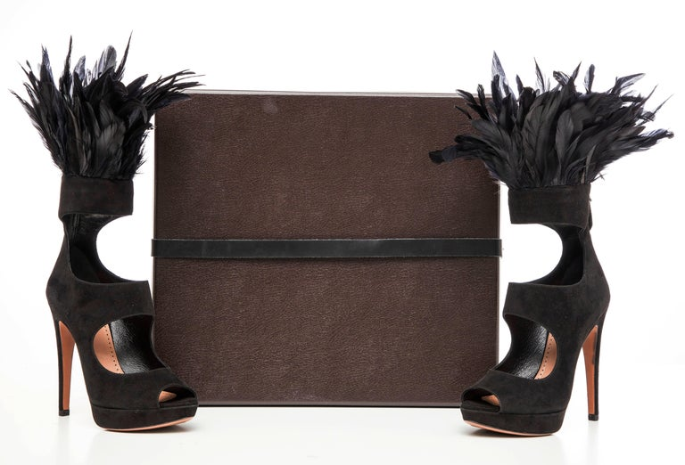 Women's Azzedine Alaia Black Suede Peep Toe Platform Pumps With Feather Trim, Fall 2010 For Sale