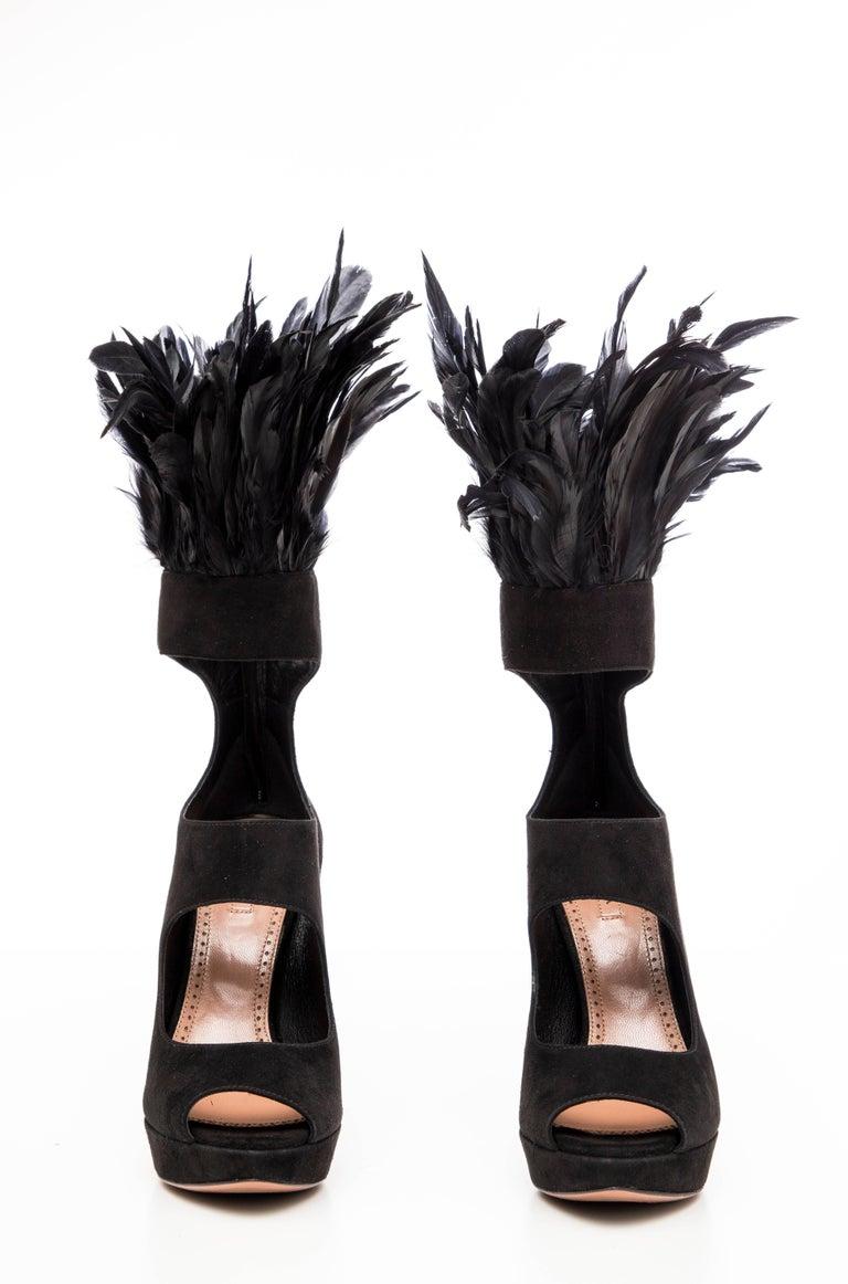 Azzedine Alaia Black Suede Peep Toe Platform Pumps With Feather Trim, Fall 2010 For Sale 2