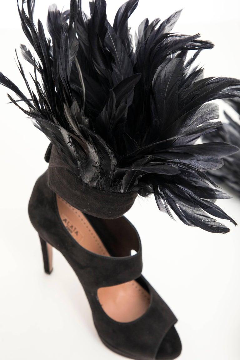 Azzedine Alaia Black Suede Peep Toe Platform Pumps With Feather Trim, Fall 2010 For Sale 3