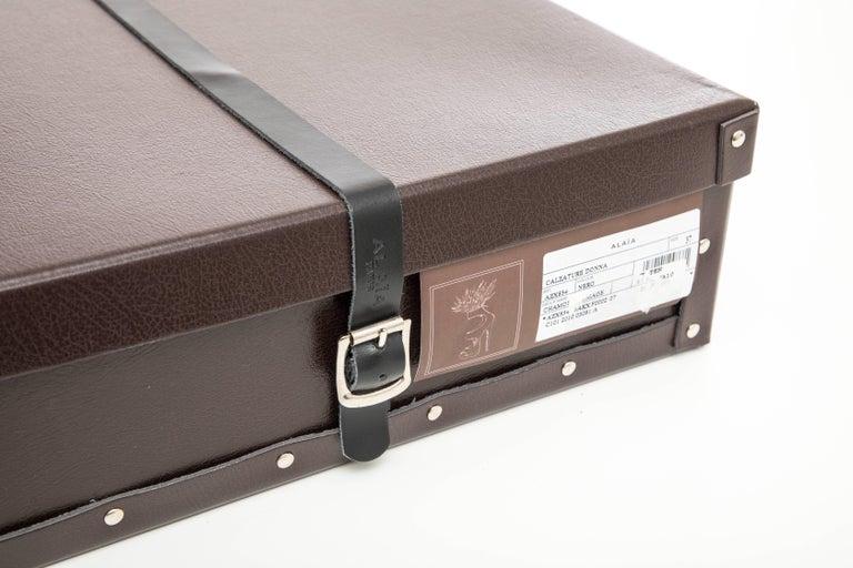 Azzedine Alaia Black Suede Peep Toe Platform Pumps With Feather Trim, Fall 2010 For Sale 4