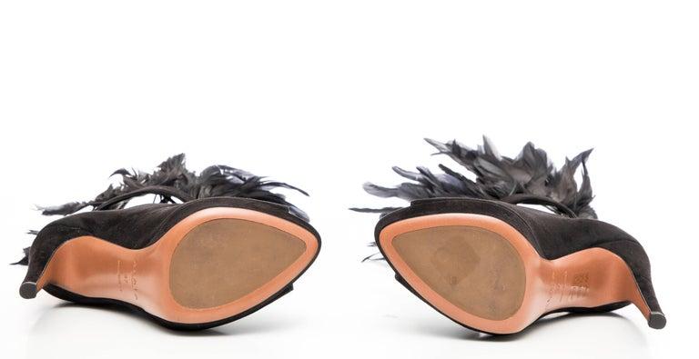 Azzedine Alaia Black Suede Peep Toe Platform Pumps With Feather Trim, Fall 2010 For Sale 5