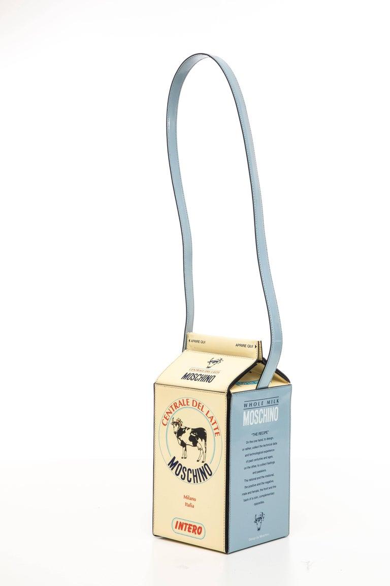 Beige Moschino Milk Carton Handbag, Circa 1990's For Sale