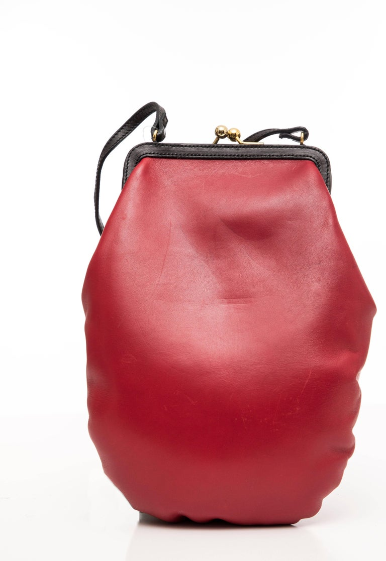 Moschino Red And Black Leather Boxing Glove Handbag, Spring 2001 2