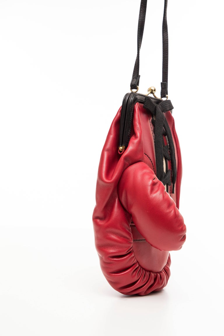 Moschino Red And Black Leather Boxing Glove Handbag, Spring 2001 For Sale 1