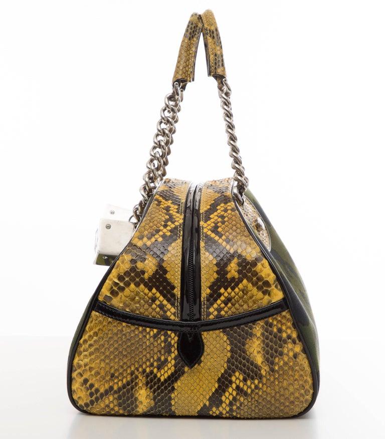 Black John Galliano Christian Dior Runway Leopard Python Gambler Handbag, Fall 2004 For Sale